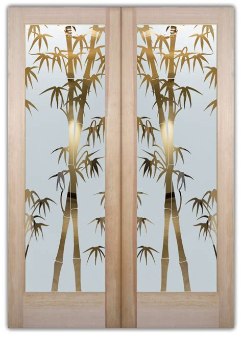 Bamboo Shoots Etched Glass Front Doors Asian Style Bamboo Glass Door