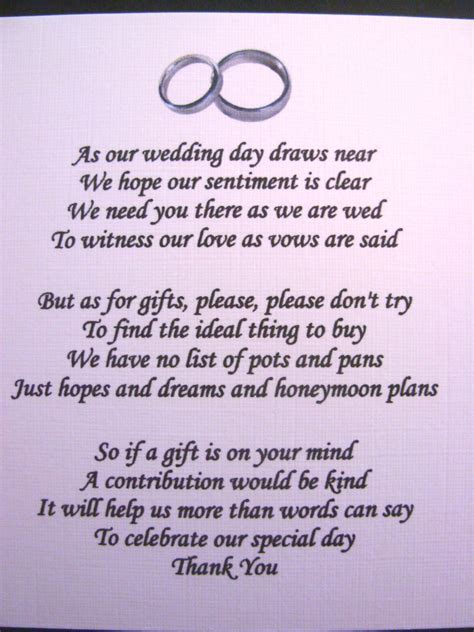 20 Wedding poems asking for money gifts not presents Ref