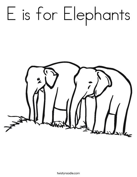 e is for elephants coloring page twisty noodle