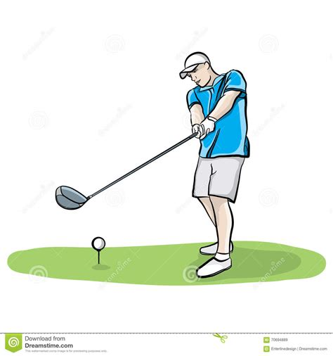 golf draw swing golfer swinging club hand drawn illustration stock vector