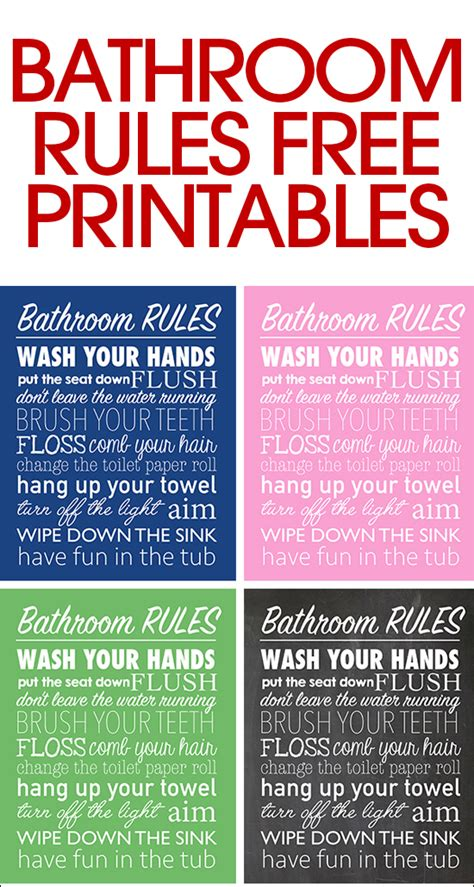 comfort room reminders bathroom rules free printable how to nest for less