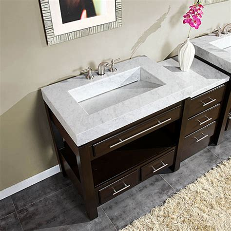 56 inch bathroom vanity silkroad 56 quot moduler bathroom vanity espresso finish with white carrara marble top