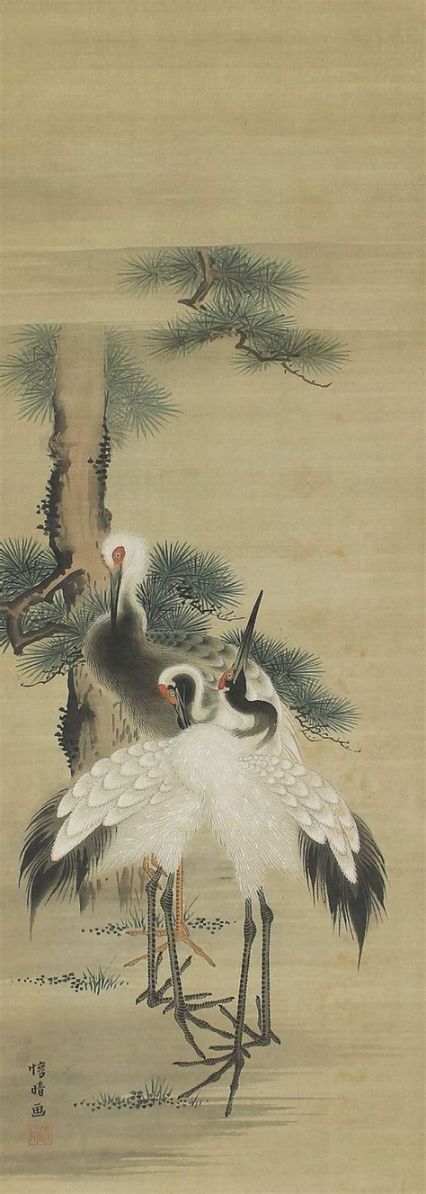 crane painting crane in pines japanese hanging scroll painting