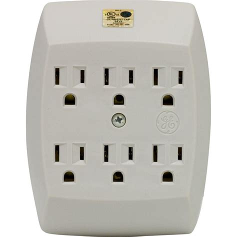 grounded light socket adapter ge 15 amp125 volt ac 6 outlet grounded adapter wall