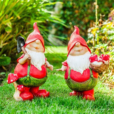 lawn gnome garden gnomes max mason the pair of red mushroom picking