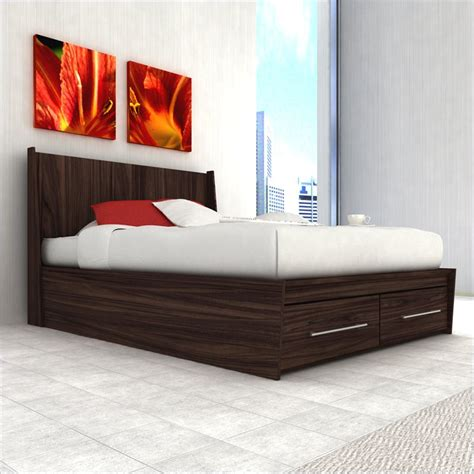 queen platform bed with storage drawers sonax pacific queen platform w storage drawers ebony pecan bed ebay