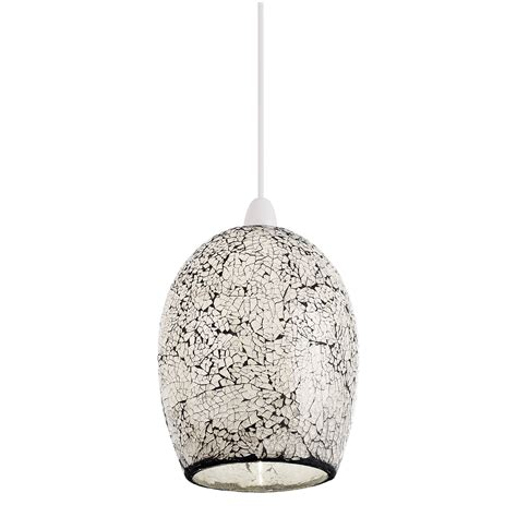 Pendant Only endon pendant shade only 60w mosaic white glass ebay