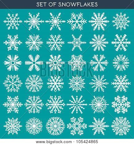 Handmade Poster Design - set 36 white different snowflakes of handmade for design