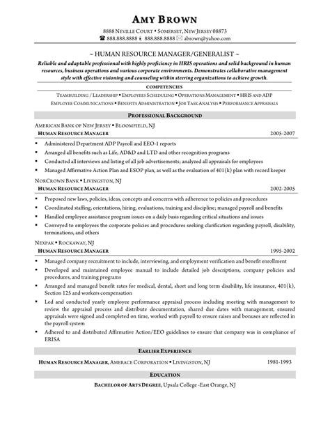 Sle Resume For Hr Generalist human resources resume sle us postage 1st class letter