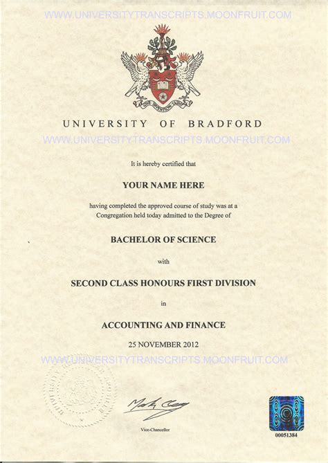 Of Bradford School Of Management Mba Certificate by 302