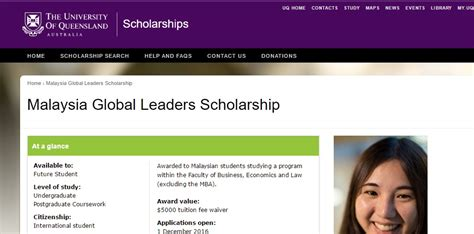 Part Time Mba Scholarship Malaysia by Of Queensland Malaysia Global Leaders