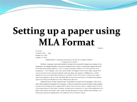 College Essay Set Up by Setting Up A Paper Using Mla Format