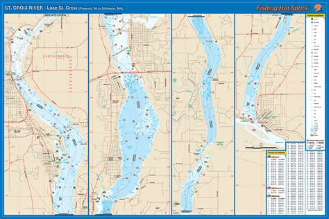 st croix river map st croix river prescott to stillwater wi mn fishing map