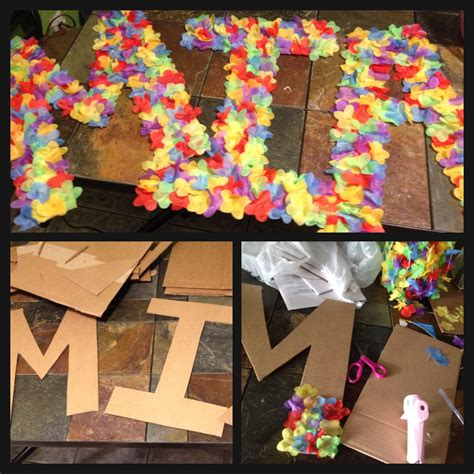 themed party letter a diy luau board name diy arts and crafts pinterest