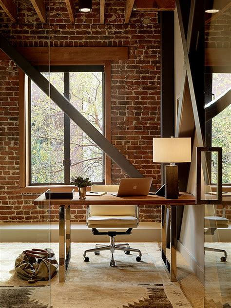 Home Modern Interior Design by Trendy Textural Beauty 25 Home Offices With Brick Walls