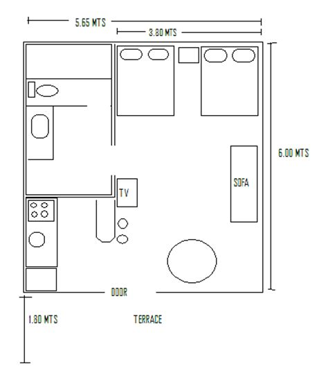 Studio Apartment Size by Standard Studio Plan