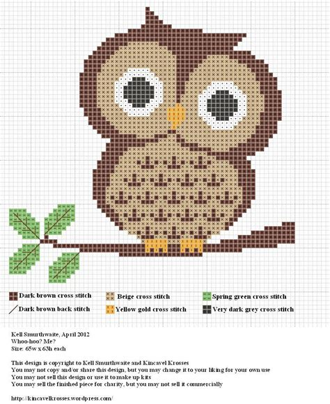 free pattern in cross stitch owl cross stitch chart
