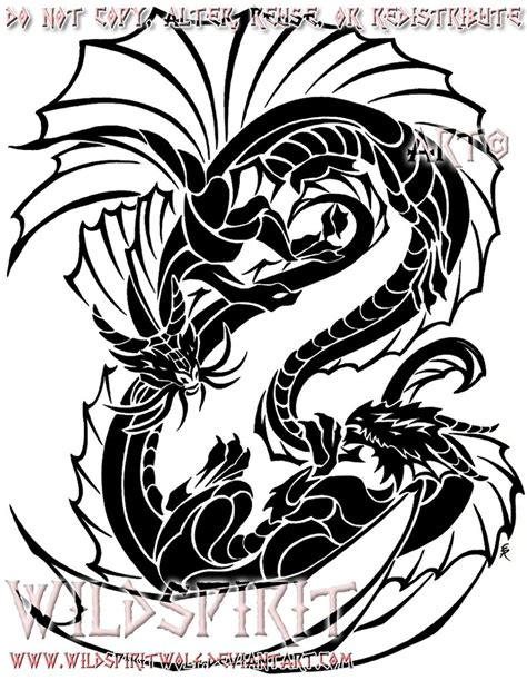 yin yang tribal dragons by wildspiritwolf on deviantart