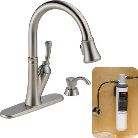 delta savile stainless 1 handle pull kitchen faucet shop delta savile with filtration stainless 1 handle pull kitchen faucet at lowes