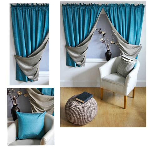 silk teal curtains reversible luxury faux silk curtains slot top heading