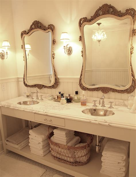 French Bathroom Mirror | skirted vanity french bathroom munger interiors
