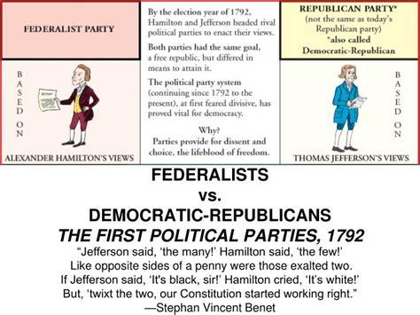 Democratic Vs Republican Essay by Federalists Vs Democratic Republicans The Political 1792 Political
