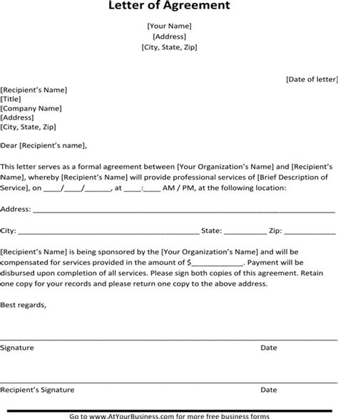 Structured Contract Guidance Letter sle letter of agreement for free formtemplate
