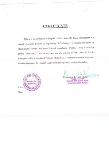 Custodian Certificate Letter supporting b tech third year student venugopal