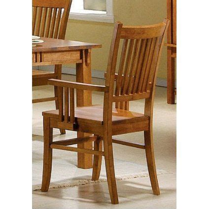 set   dining arm chairs mission style medium brown