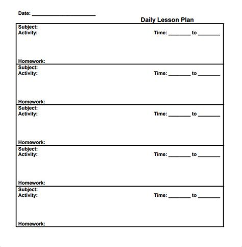 sub plans template sle printable lesson plan 8 exles format