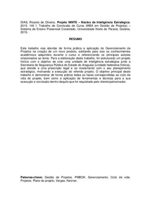 Mba Projetos Goiania by Projeto Ninte Tcc Mba Ricardo Final