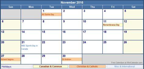 Calendar Printable 2016 Canada November 2016 Canada Calendar With Holidays For Printing