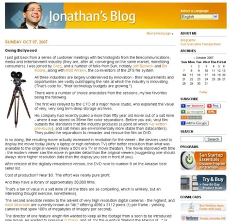 layout van een blog jonathan s sun blog voorbeeld corporate blog erno hannink
