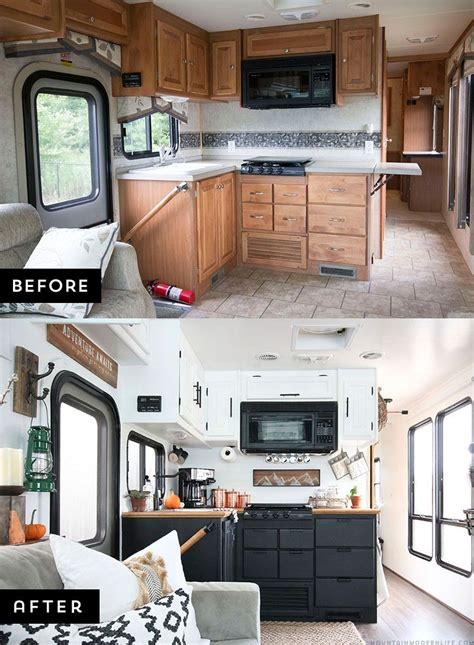 renovated cers rv kitchen renovation rustic modern rv and modern