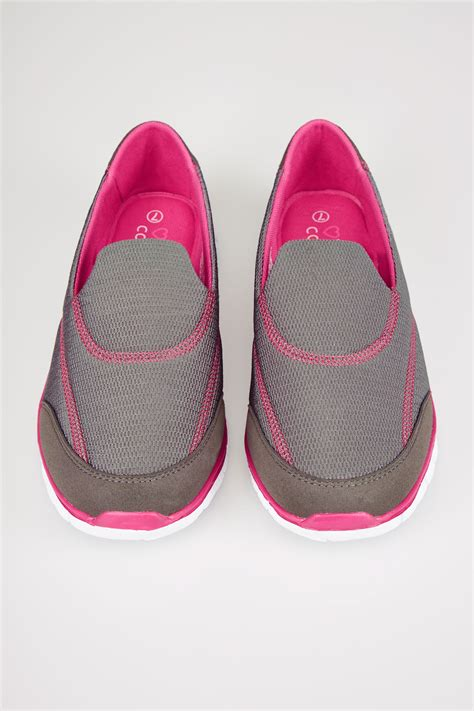 grey pink slip on trainers with comfort insole in true eee fit
