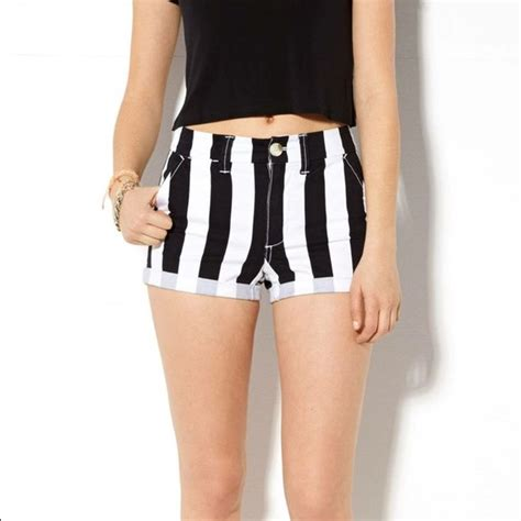 Striped Shorts black and white striped shorts trendy clothes