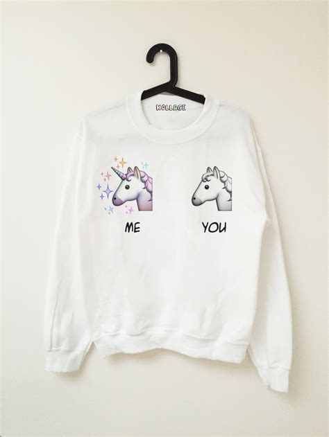 me vs u emoji unicorn sweatshirts join my closet fashion