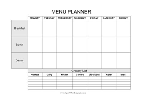 Weekly Menu Planner With Grocery List Openoffice Template Free Weekly Meal Planner Template With Grocery List