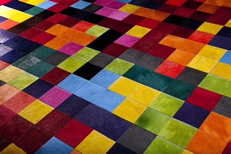 coloured cowhide rugs a fantastic bright multi coloured cowhide stitched rug using 10cm squares by gorgeous creatures