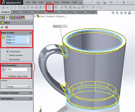 how to pattern a sketch in solid edge create a coffee cup using revolve and sweep in solidworks