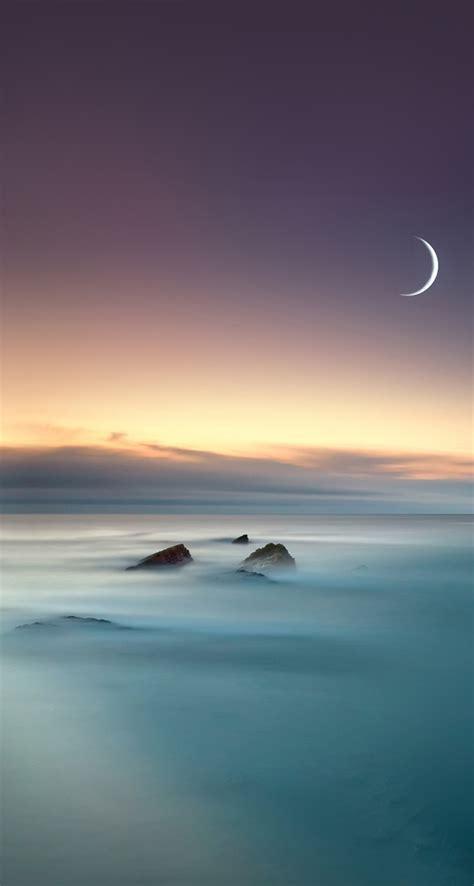 Scenic Lake Fog Mist Moon Eclipse iOS 8 iPhone 5 Wallpaper