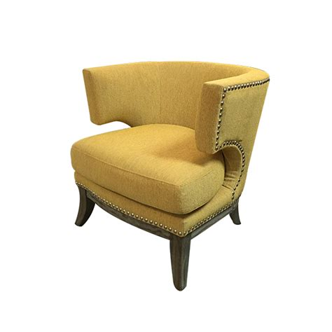 Yellow Chairs Upholstered Design Ideas New Barrel Back Nail Trim Bumble Bee Yellow Upholstered Chair Design Plus Gallery