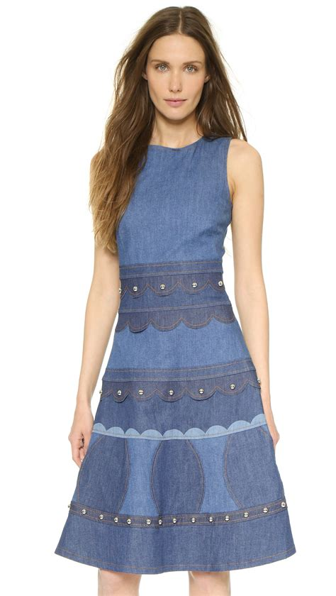 light blue denim dress lyst valentino sleeveless denim dress light blue
