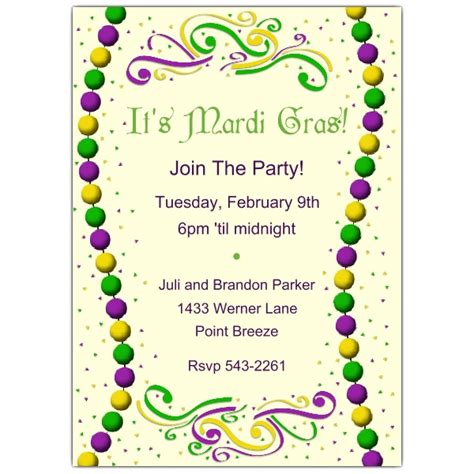 free mardi gras invitation templates mardi gras invitation free printable