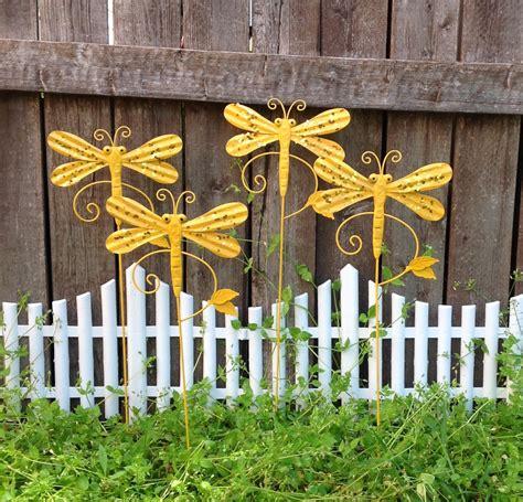 metal garden stakes yard 4 glittered marigold dragonfly garden stakes metal yard