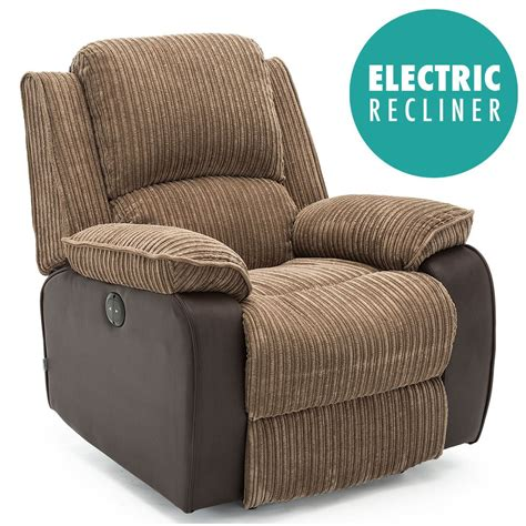 reclining armchair fabric postana jumbo cord fabric power recliner armchair electric