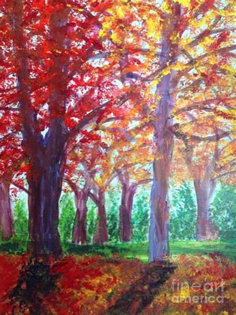 Mccafferty Greeting Cards by Autumn Trees Painting By Owen Mccafferty