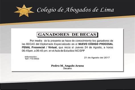 codigo procesal penal centro de documentacin e ganadores de becas colegio de abogados de lima