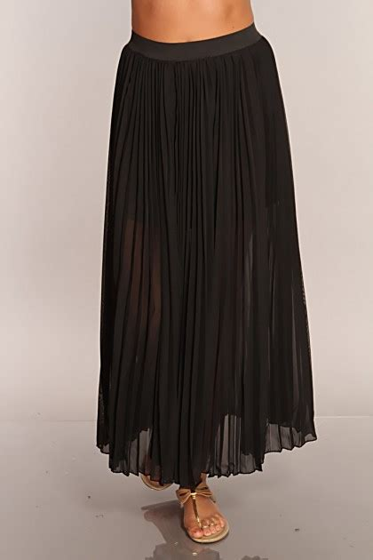 black pleated sheer maxi skirt clubwear