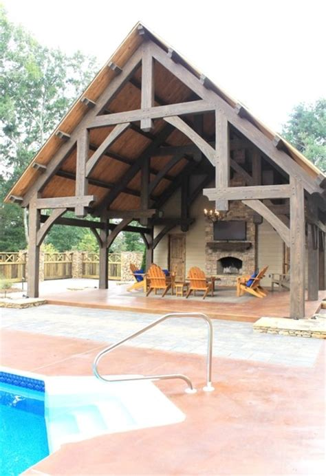 Pool Pavilion With A Fireplace Traditional Pool Timber Frame Pool House Plans